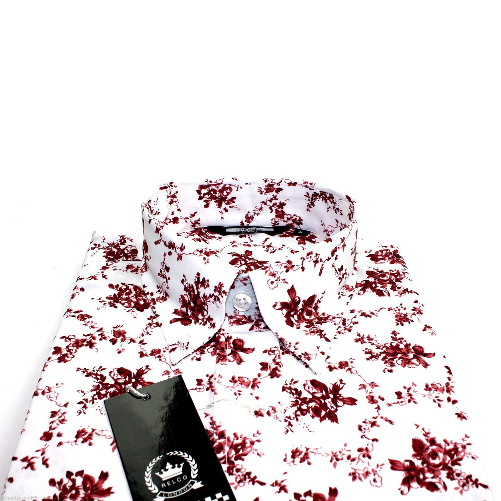 Relco Mens White Burgundy Floral Long Sleeved Shirt Mod